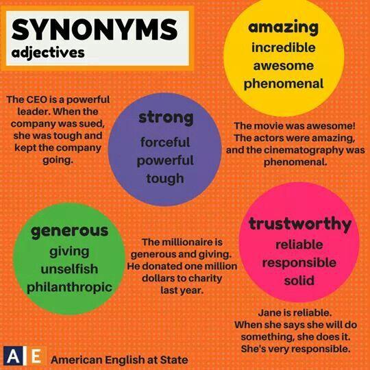 Synonyms adjectives | ESL | English adjectives, English