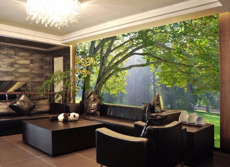 3d mural wallpaper scenery for living room tv background for Wallpaper for small living room