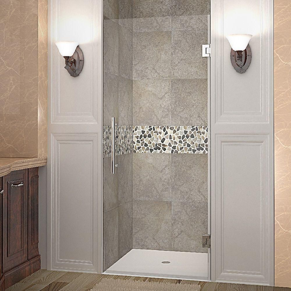 Aston Cascadia 29 In X 72 In Completely Frameless Hinged Shower Door In Stainless Steel With Frameless Hinged Shower Door Shower Doors Frameless Shower Doors