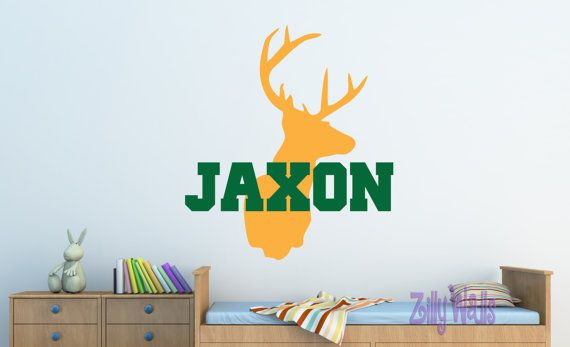 Boy Deer Custom Vinyl Name Decal Nursery Monogram For Kids Room - Custom vinyl wall decals deer