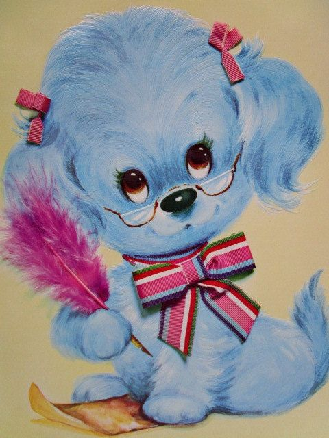 5 Adorable Vintage Pastel Pets Giant Greeting Cards w/ Envelopes, Puppies Kittens, Frameable, Qualit