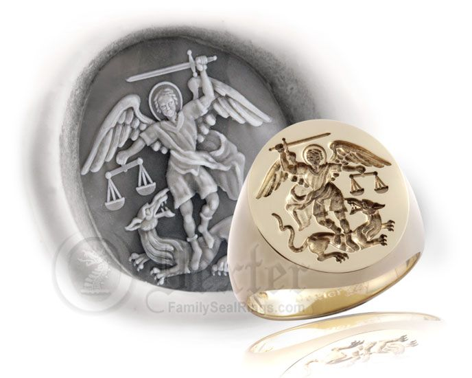 Mens Signet Ring With Phoenix