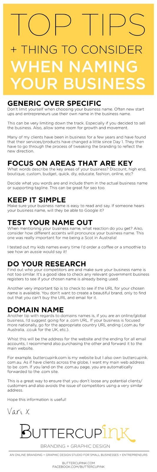When choosing a business name... | Business Tips | Pinterest ...