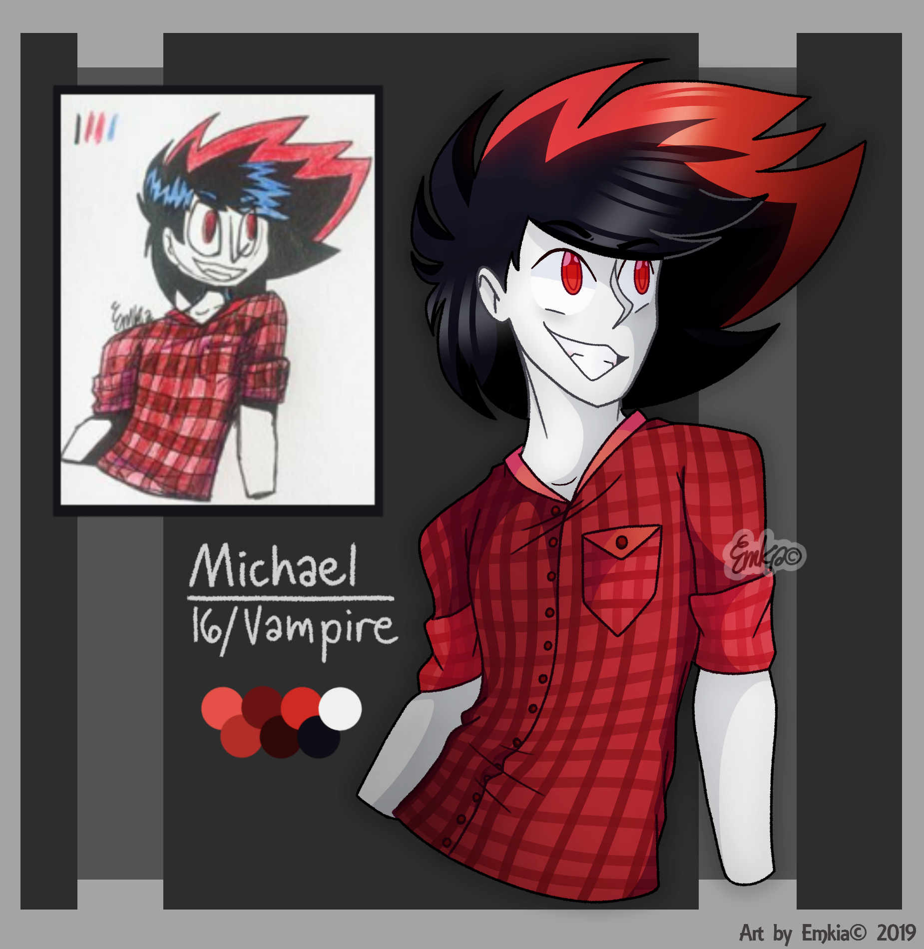 Re Draw Of Michael Oc Half Body By Emkia Character Design Vampire Boy Draw
