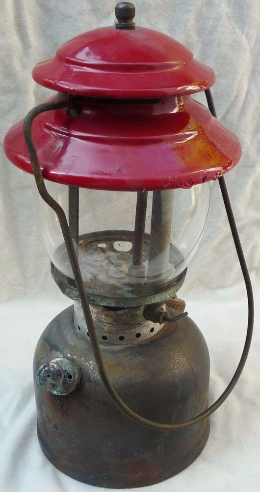 1969 Coleman 200a Single Mantle Red Top Nickel Pyrex Glass Camping Lantern Camping Lanterns Led Camping Lantern Lanterns