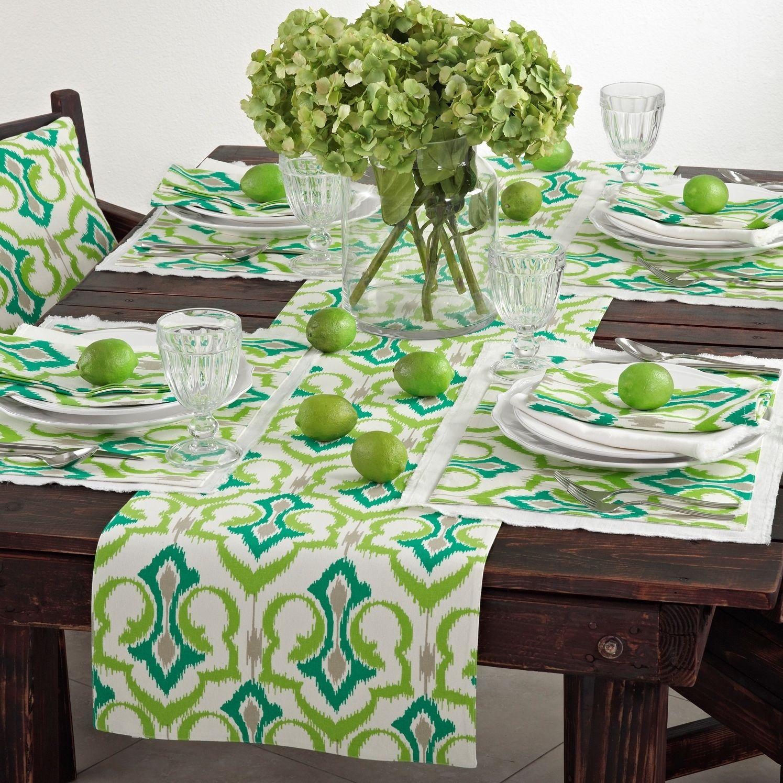 Saro Ikat Design Printed Table Linens (set of 4) (Multicolored Runner (16x72)), Multi (Cotton, Border)