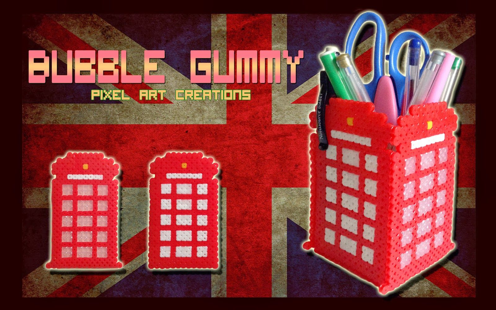 medium resolution of hama beads british telephone box by bubble gummy