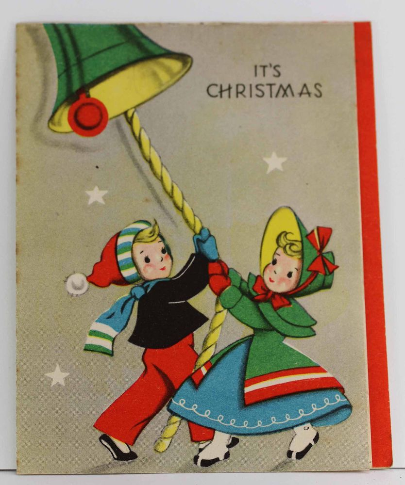 Vintage greeting card used christmas old fashioned couple ringing vintage greeting card used christmas old fashioned couple ringing bell boy girl kristyandbryce Image collections