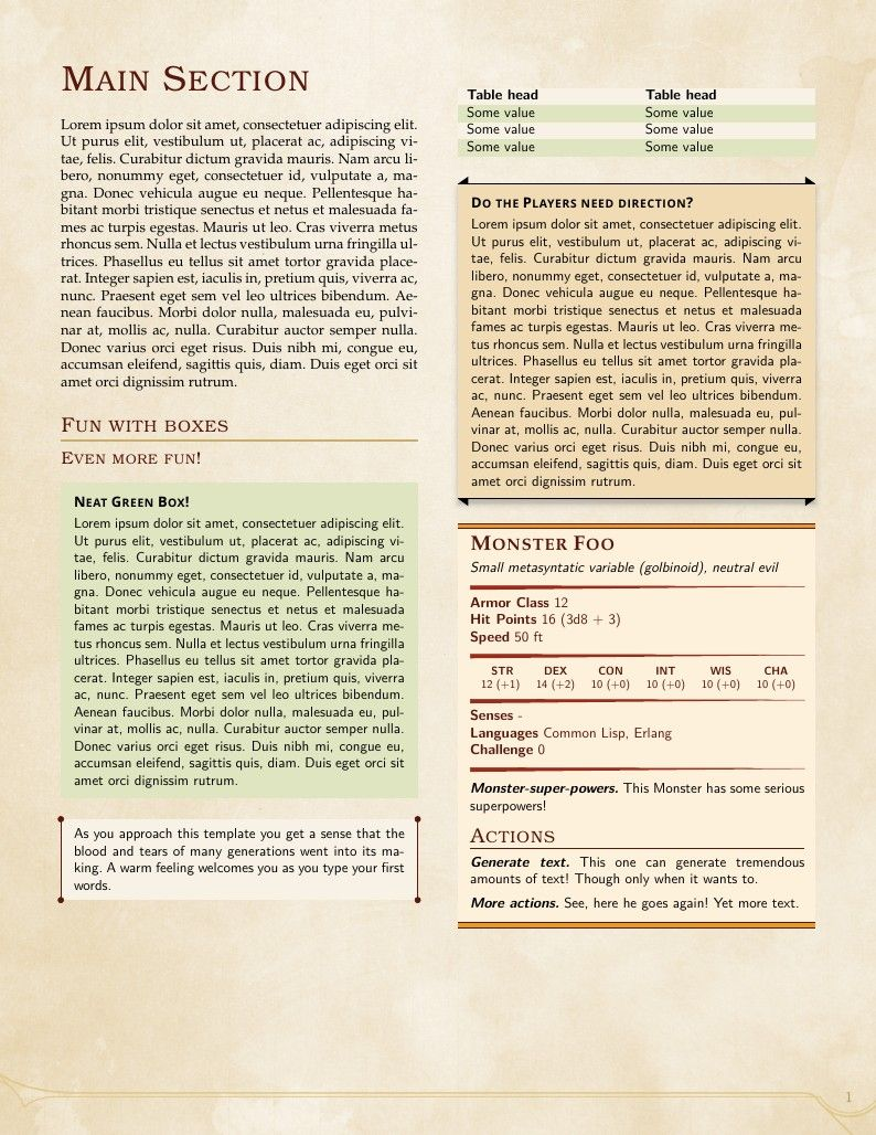 D&D 5e LaTeX Template | LaTeX Templates Book | Pinterest