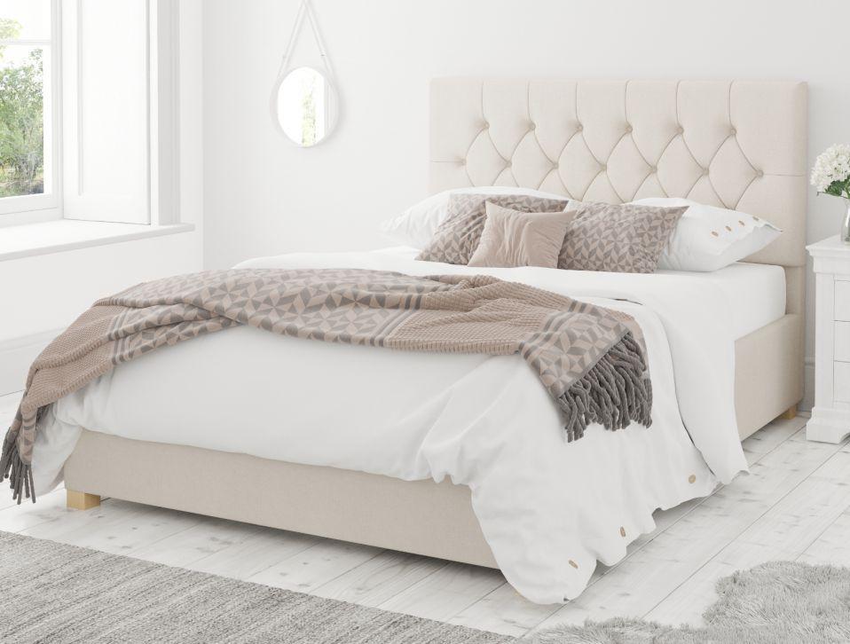 York Ottoman Eire Linen Off White Bed Frame Only White Bed Frame