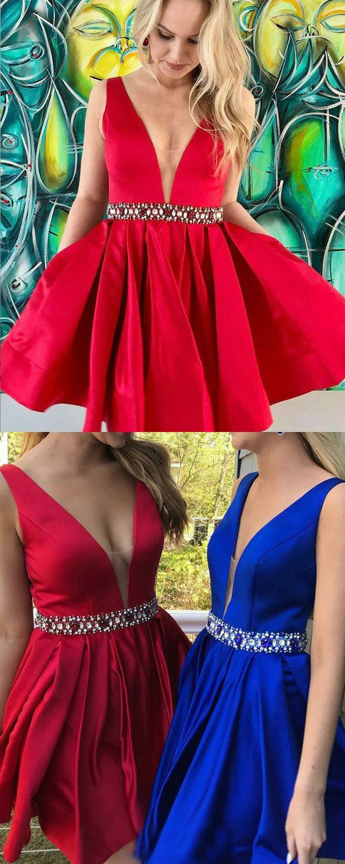 Deep vneck pleated red simple satin homecoming dress hd