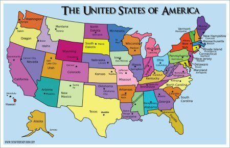 Map Of Us States Abbreviations And Capitals States at a Glance | States and capitals, United states capitals