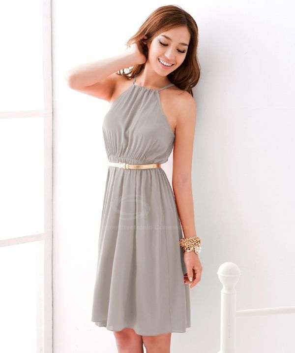 Graceful Off-The-Shoulder Solid Color Chiffon Dress With Petticoat For Women  (LIGHT GRAY c80f95abb544