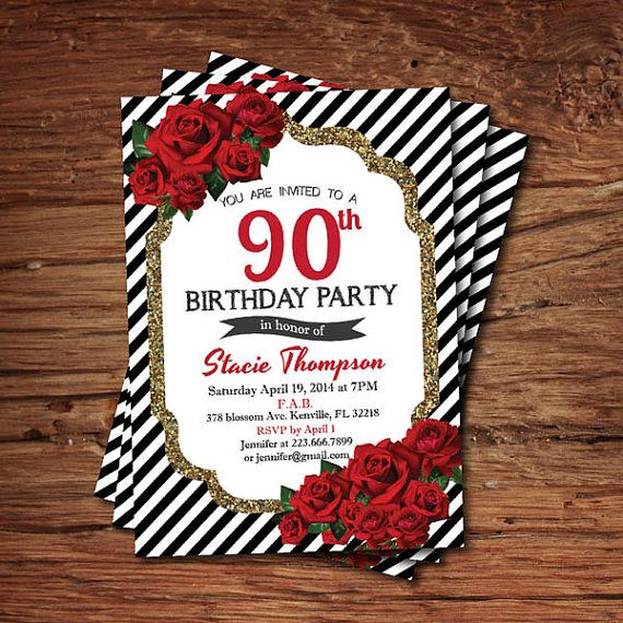 Glam Th Birthday Invitation Red Rose Black White Stripes Gold - Black and white striped birthday invitations