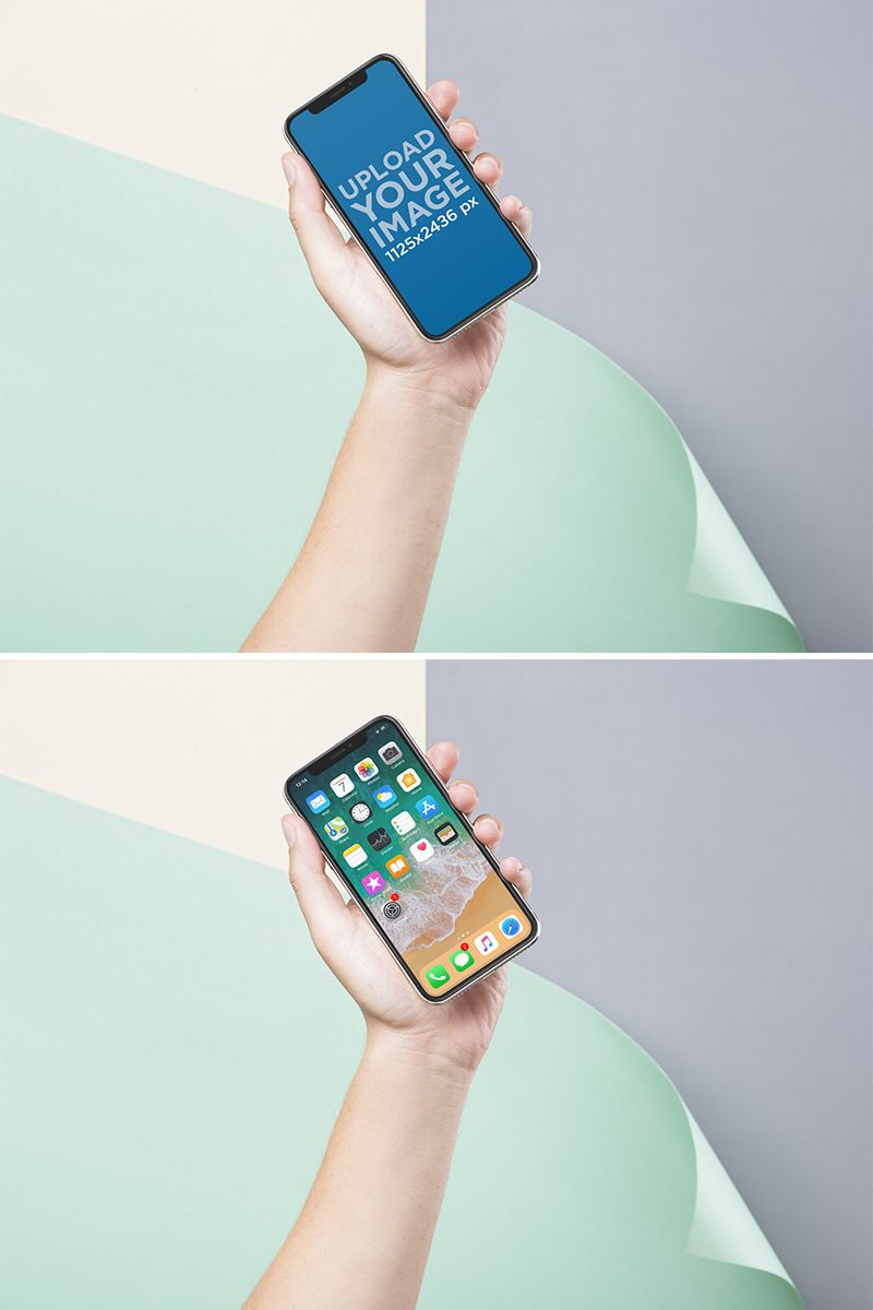 iPhone X Mockup of a Hand Holding an iPhone Over a