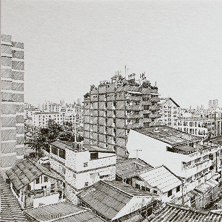 """916 Likes, 5 Comments - Luis Gómez Feliu (@luis_gof) on Instagram: """"Vista desde mi apartamento en """"Sitara Place"""" en Bangkok (3/3). Rotuladores calibrados 0,05 y 0,1mm…"""""""