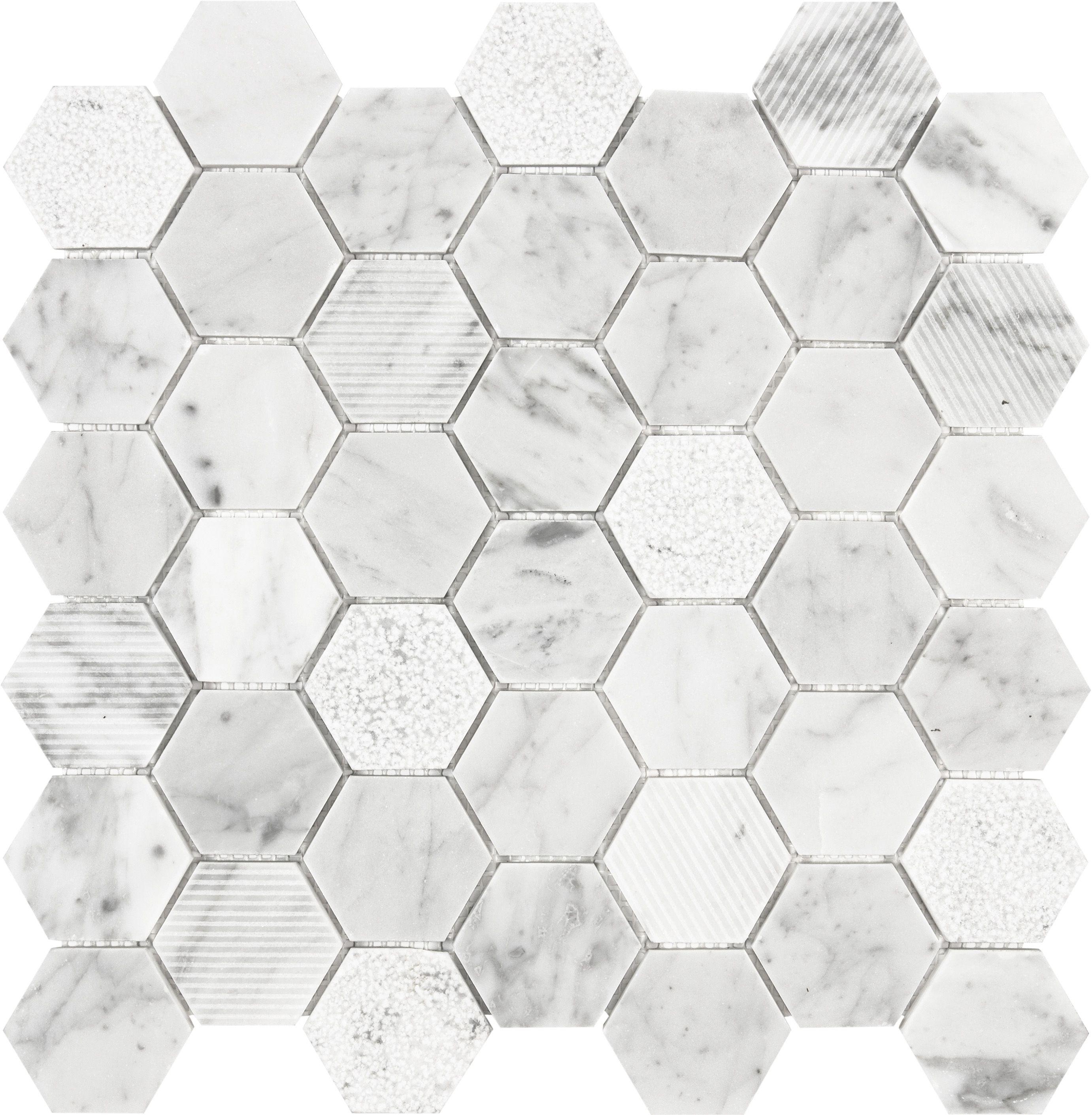Natural stone bathroom tiles 25 off marshalls natural stone tiles - Shop Anatolia Tile Carrara Honeycomb Mosaic Natural Stone Marble Wall Tile Common X Actual