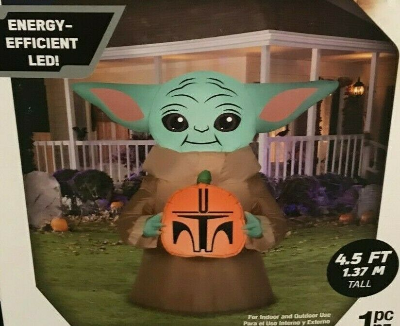 Star Wars Baby Yoda Mandalorian The Child Airblown Inflatable 4 5 Ft Halloween Starwars Halloween In 2021 Halloween Inflatables Star Wars Baby Inflatable