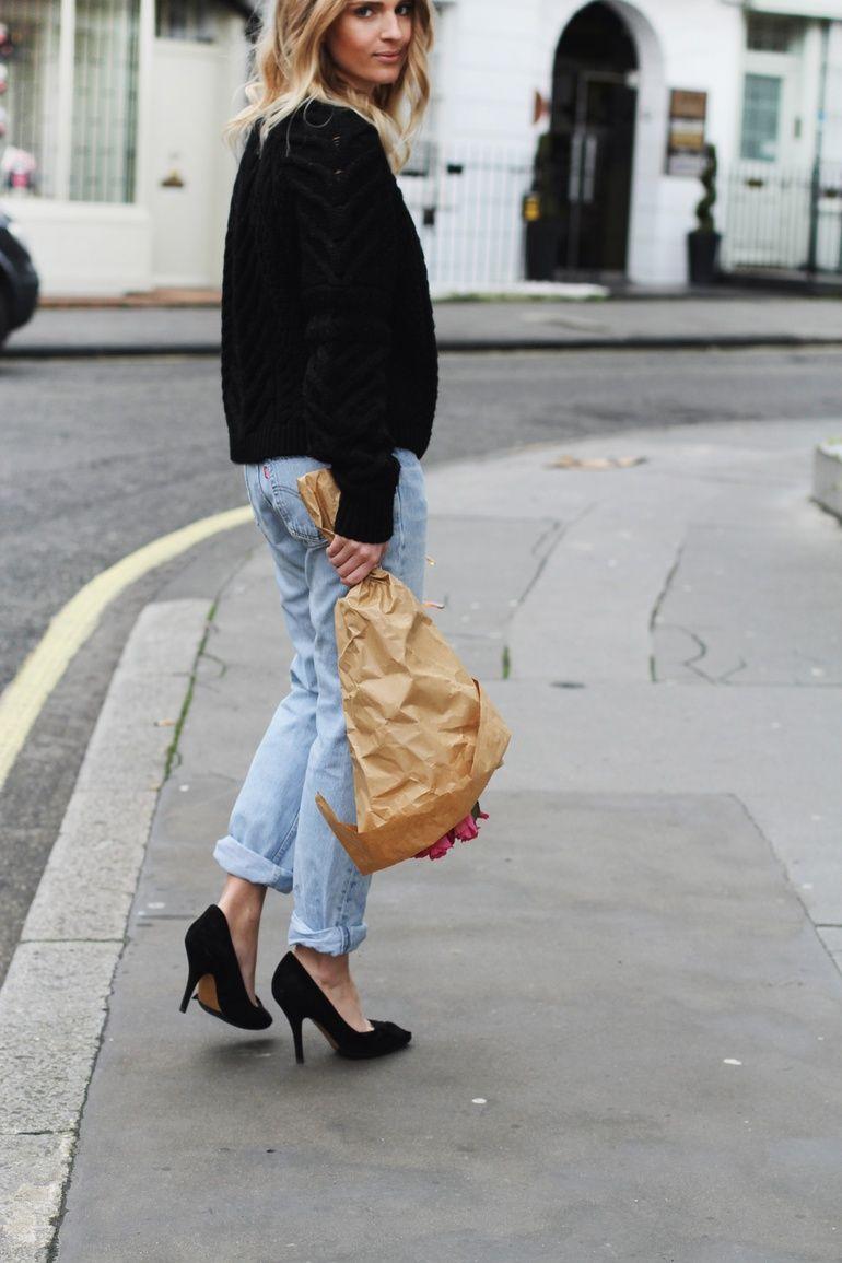 Isabel Marant knit and poppy heels & Levis 501 vintage jeans. Via Mija