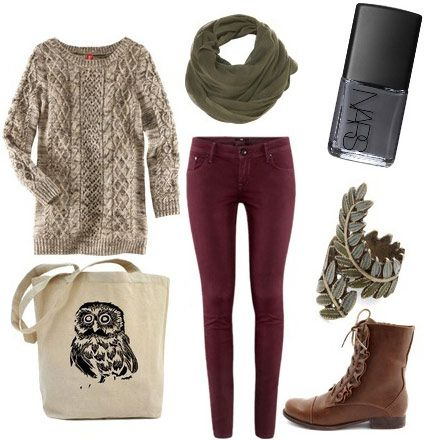 Burgundy skinnies, sweater, knit scarf, ankle boots, rustic accessories