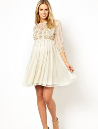 Image 4 Of ASOS Maternity Skater Dress With Daisy Embellishment