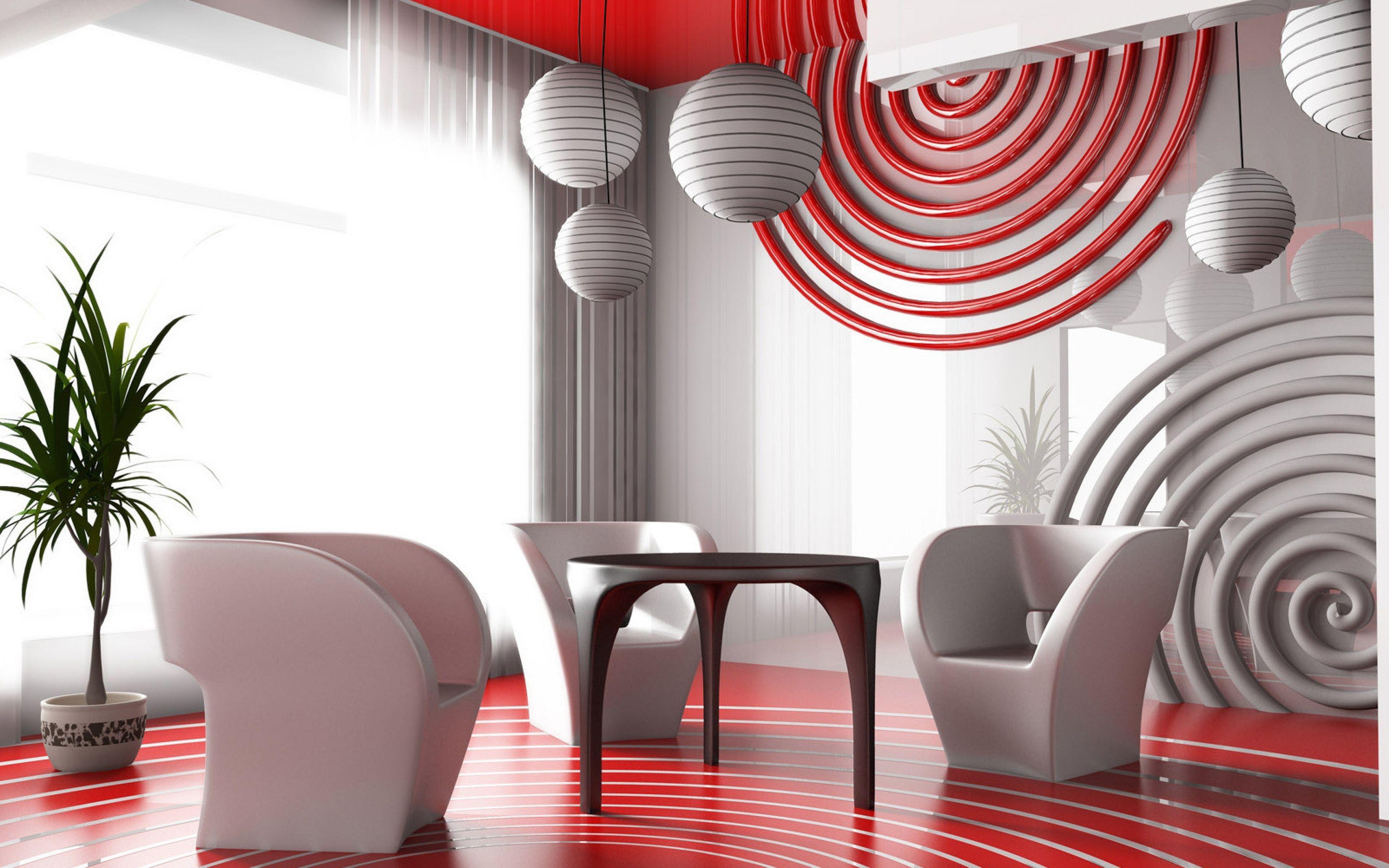 Download Wallpaper 3840x2400 Interior Design Style Future Ultra