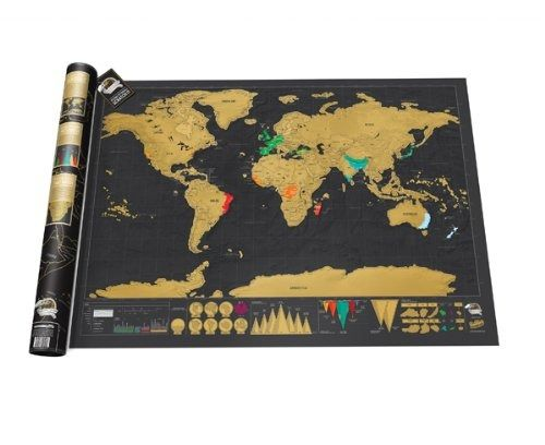 Details about World Scratch Map Personalised Journeys Record Black