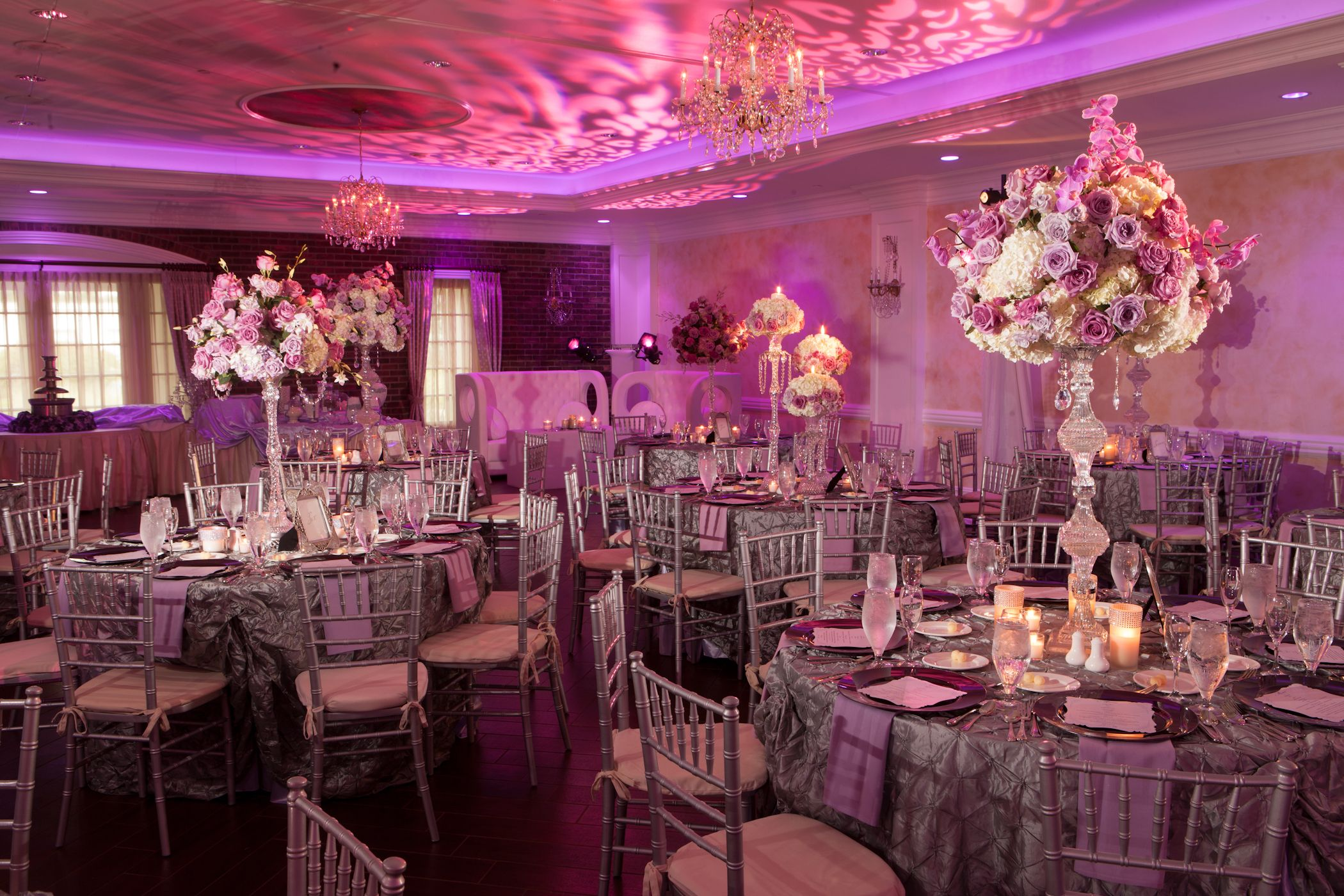 pink, purple + white wedding with textured linens and uplighting ...