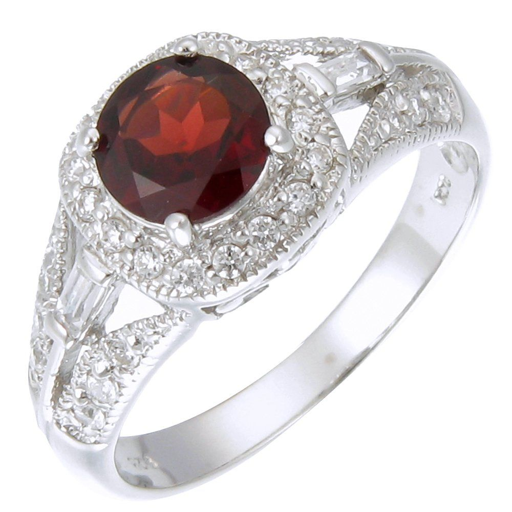 Sterling Silver Garnet Ring (1.10 CT) In Size 7