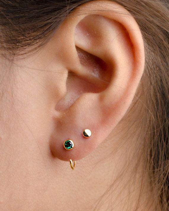 Silver Lab Emerald Hug Earrings Gemstone Earrings Open