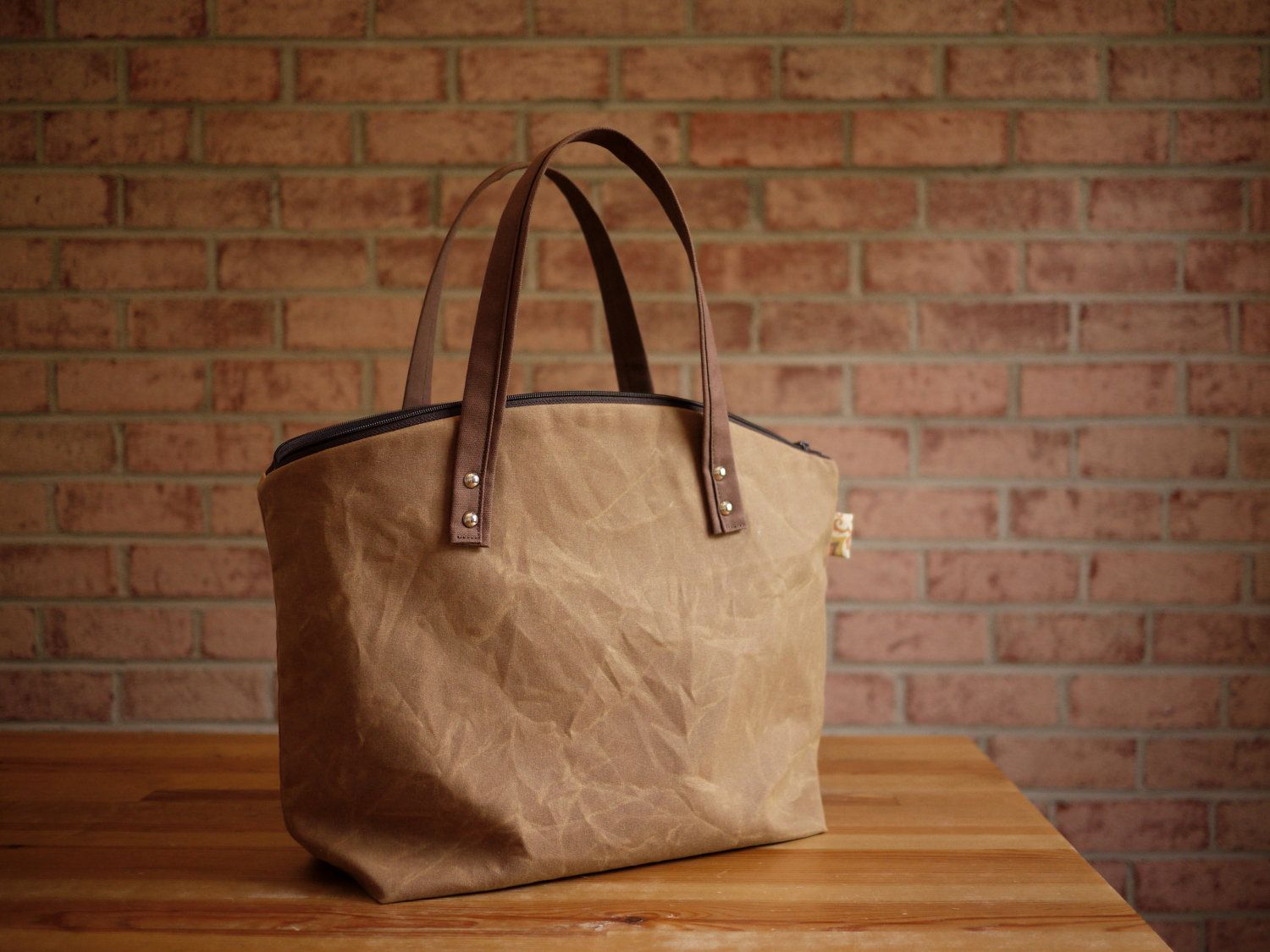 Great fall bag - waxed canvas tote from solaWu via Etsy.