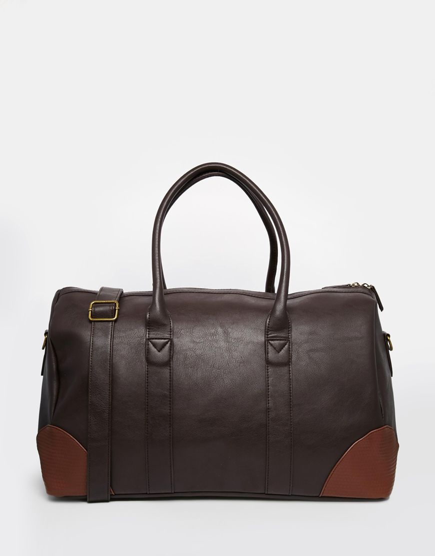 Rudas krepšys | ASOS | Holdall In Brown Faux Leather With Contrast Trims - Brown - ASOS.com | ShopSpy.lt