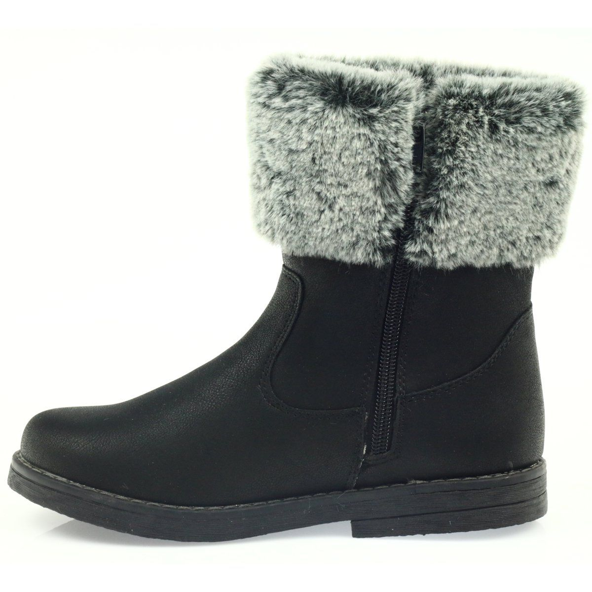 American Club American Kozaczki Buty Zimowe Z Futerkiem Czarne Boots Winter Boots Fur Boots