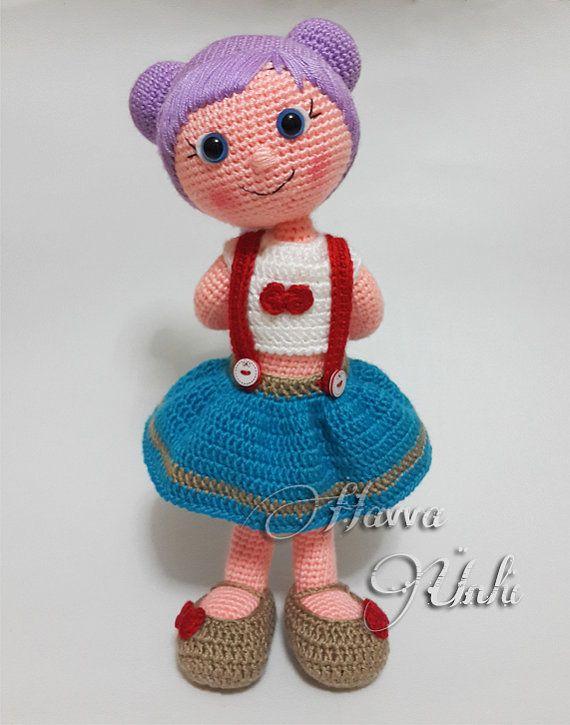 Deutsche Anleitungen Puppe Mit Lila Haare por HavvaDesigns   Häkeln ...