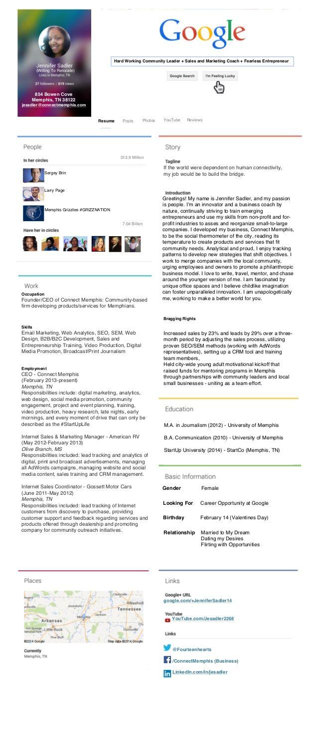 google   themed  resume  visualresume