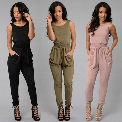 e01b3e5ddea Women Long Jumpsuit O-Neck Sleeveless Loose Rompers Womens Jumpsuit ...