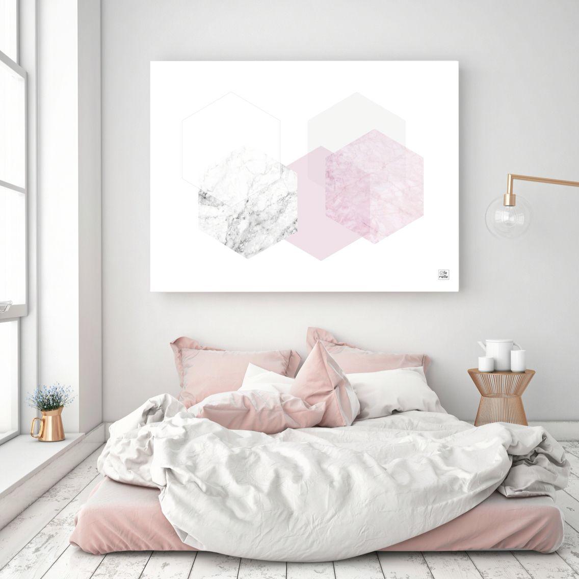 Bedroom interior wall decoration pink hex print ellemellle  room  pinterest  printing