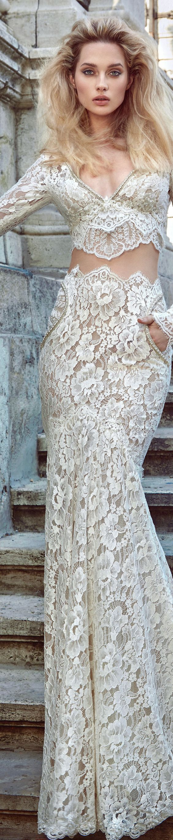 """Wedding Dress by Galia Lahav. Our new campaign collection """"The Ivory Tower"""", crafted with art & love and inspired from the gothic & romantic middle ages setting is made for the modern bride of today and tomorrow! Silhouettes and forms inspired by Gothic a"""