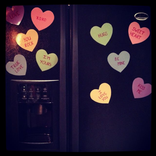 My Valentine Fridge just add magnets to the back of conversation hearts made out of construction paper
