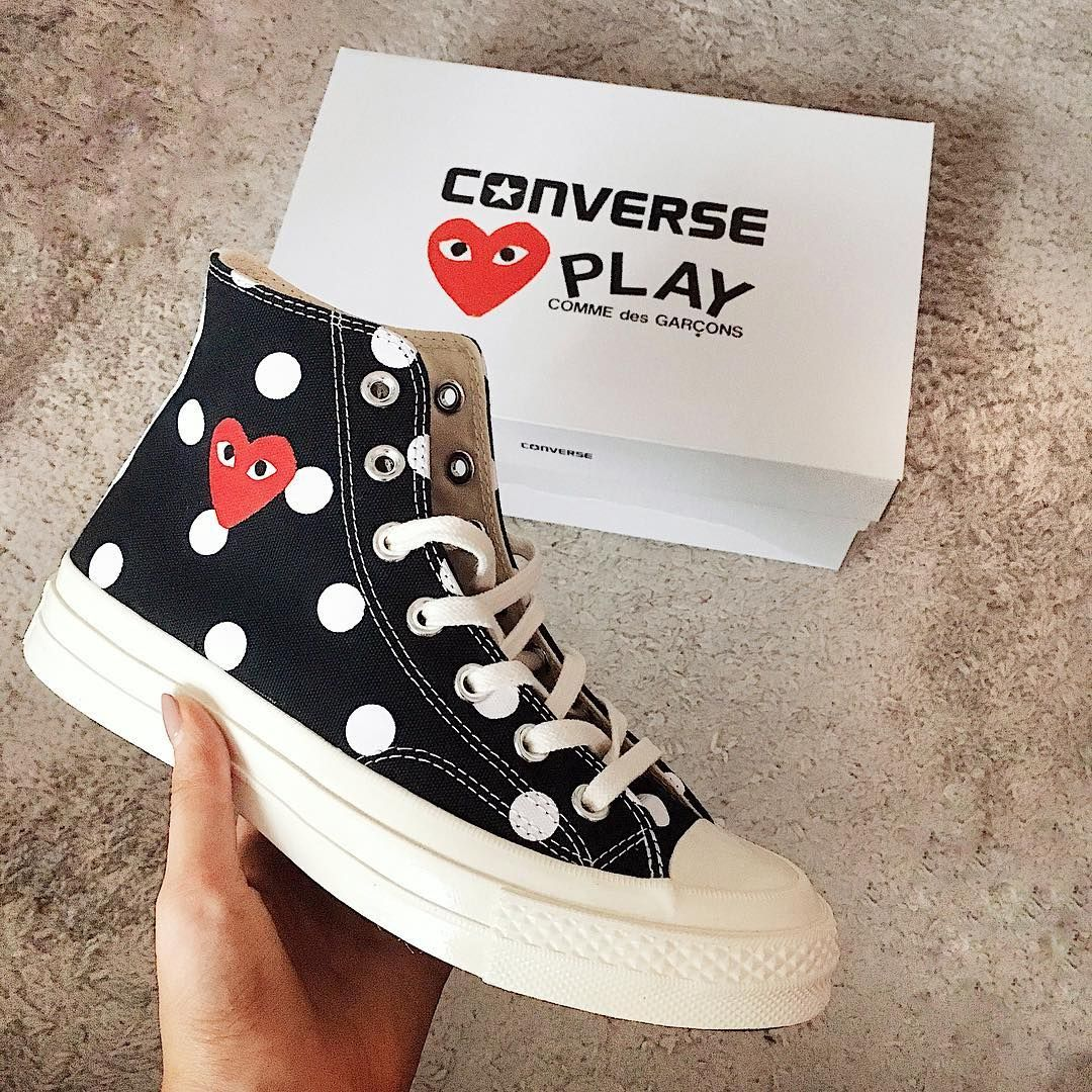 comme des garcons play converse on feet