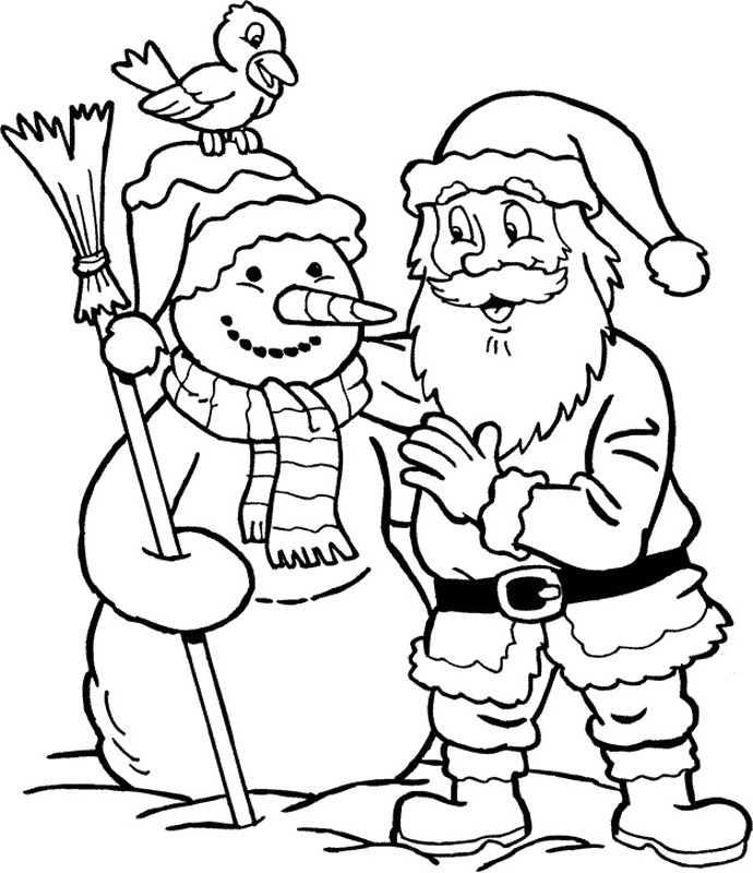 Santa Claus And Snowman Coloring Pages Christmas
