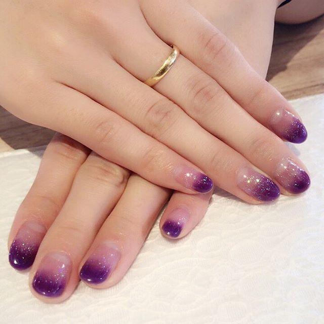 何ヶ月か前のネイル💕💅✨ まだまだだなぁ😕💧 セルフネイル紫