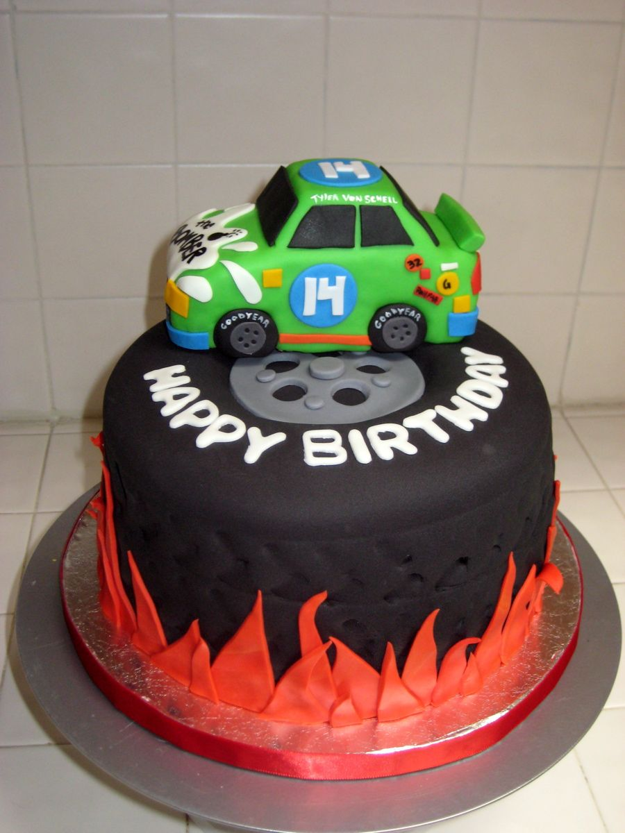 Nascar Tire Cake With Flames Tire Cake Cake Picnic Cake