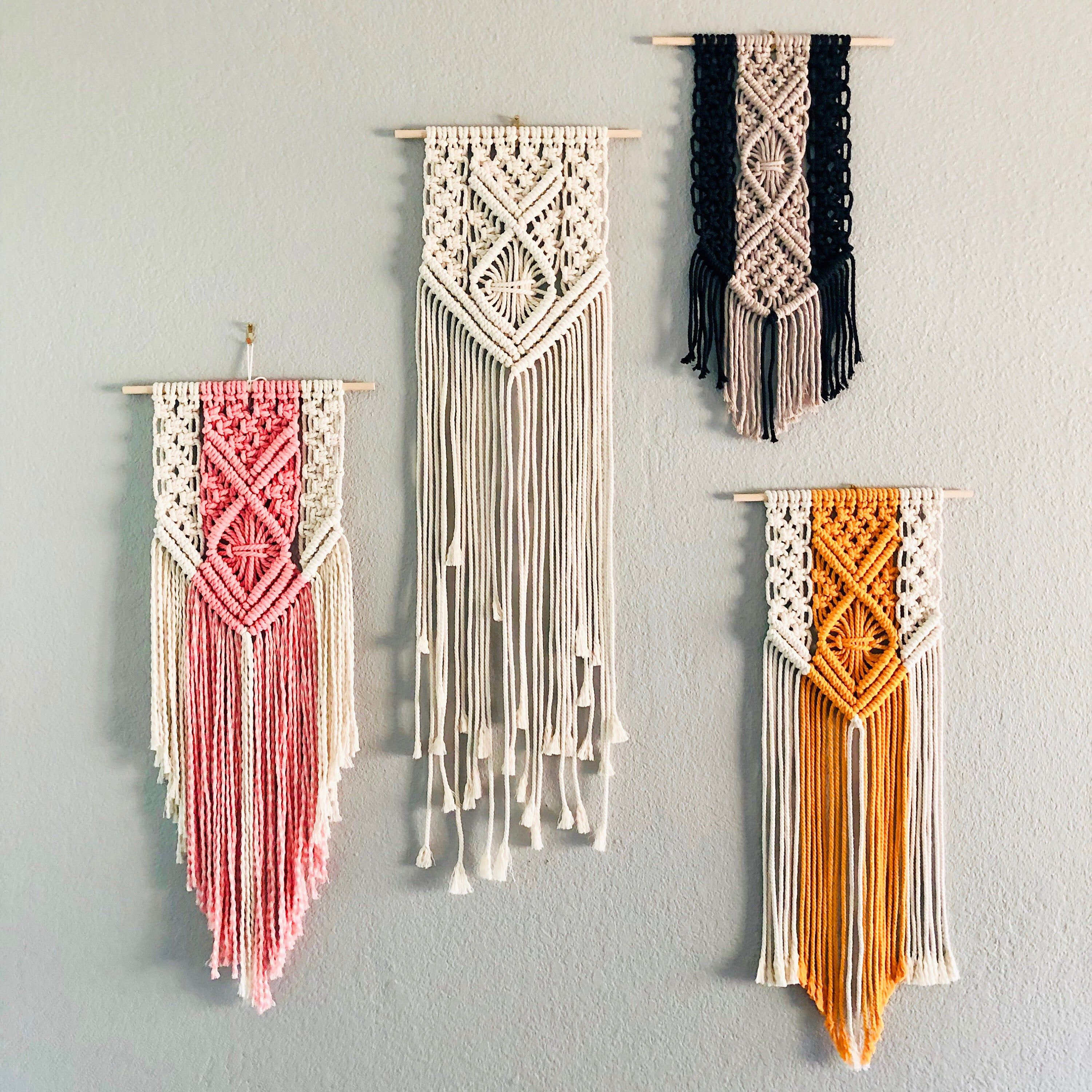X S And O S Two Tone Macrame Wall Hanging Custom Etsy Macrame Patterns Macrame Wall Hanging Macrame Wall Hanger