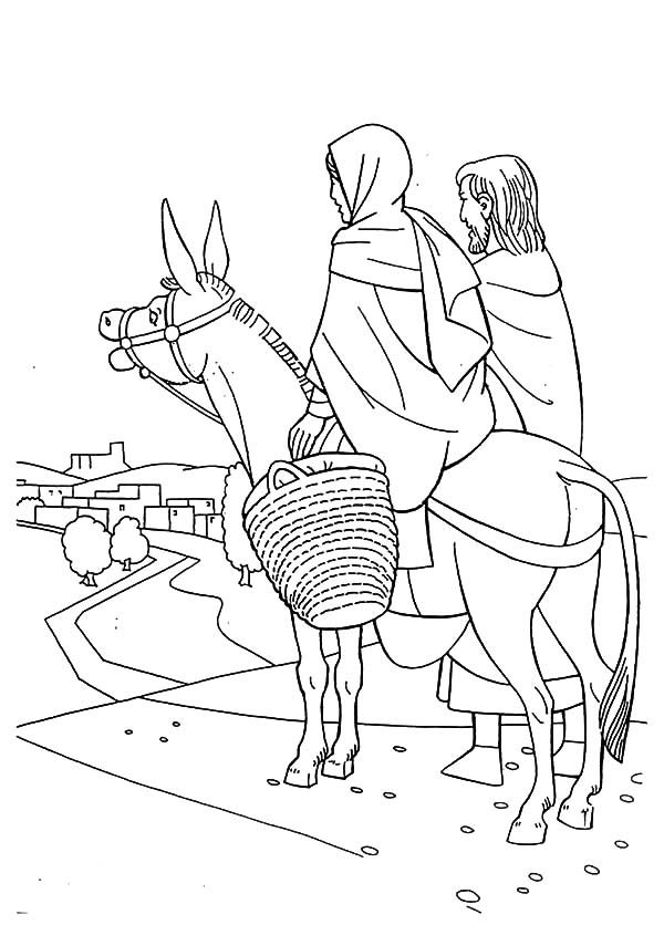 Mary Joseph Donkey Coloring Page