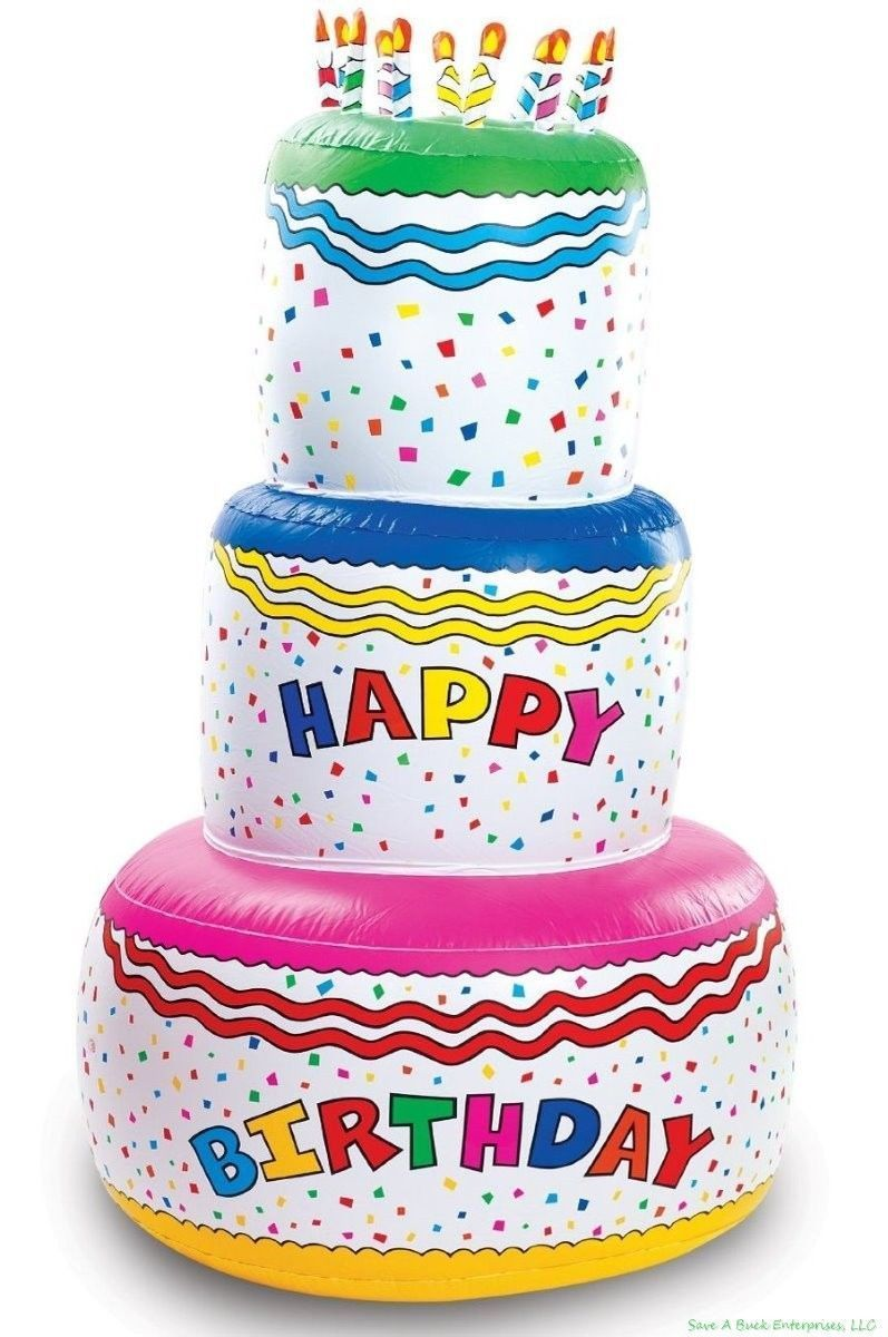 6 foot tall blow up inflatable happy birthday cake inflate party