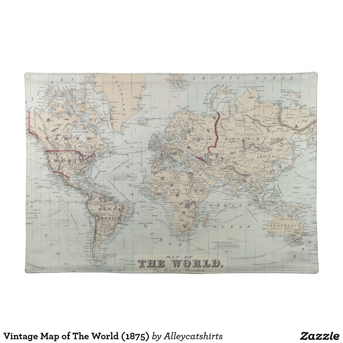 Vintage Map Of The World 1875 Cloth Placemat Placemats Vintage Map World Map