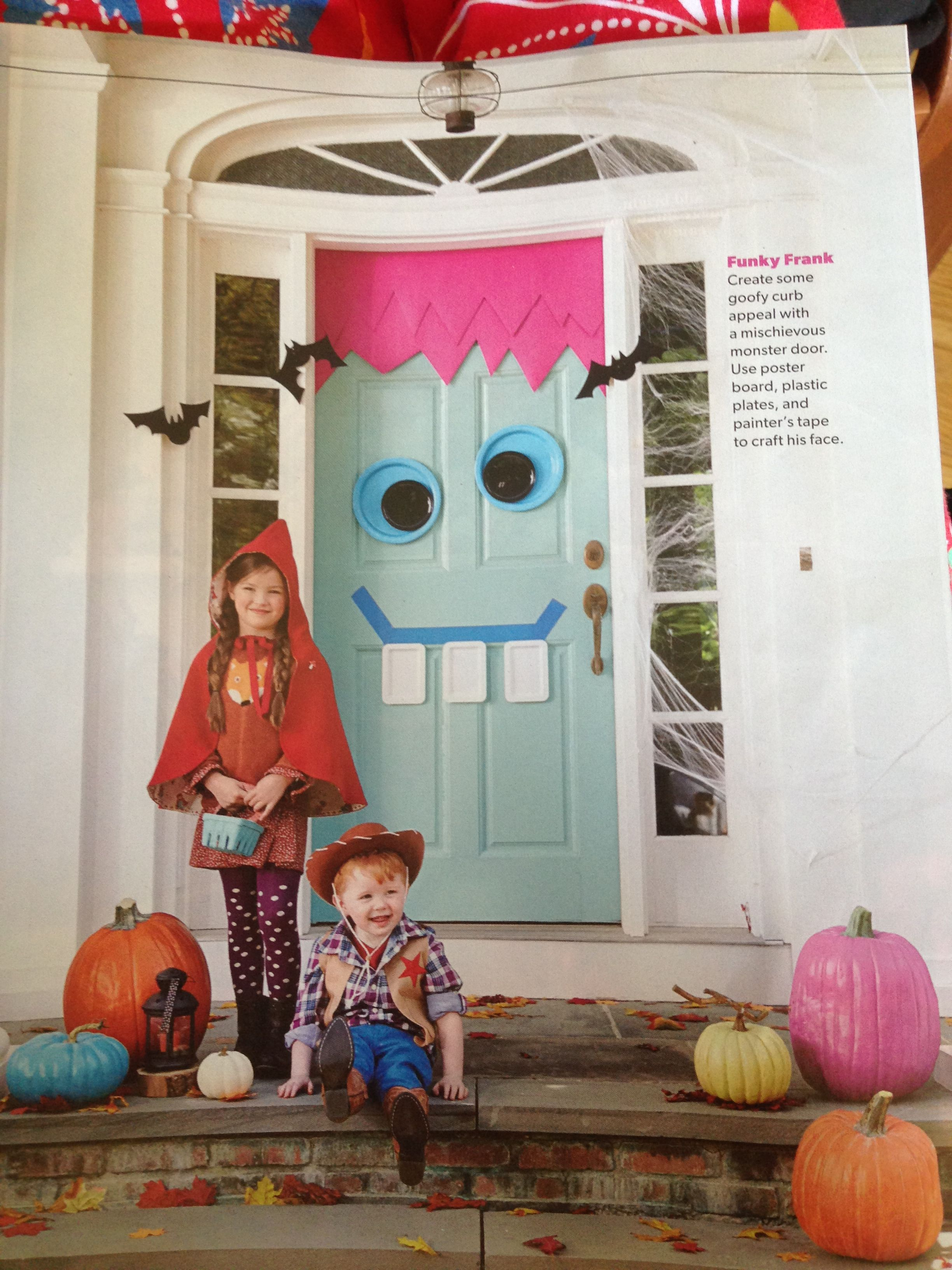 Funky Frank - Monster door out of poster board, paper plates, and - Halloween Classroom Door Decorations