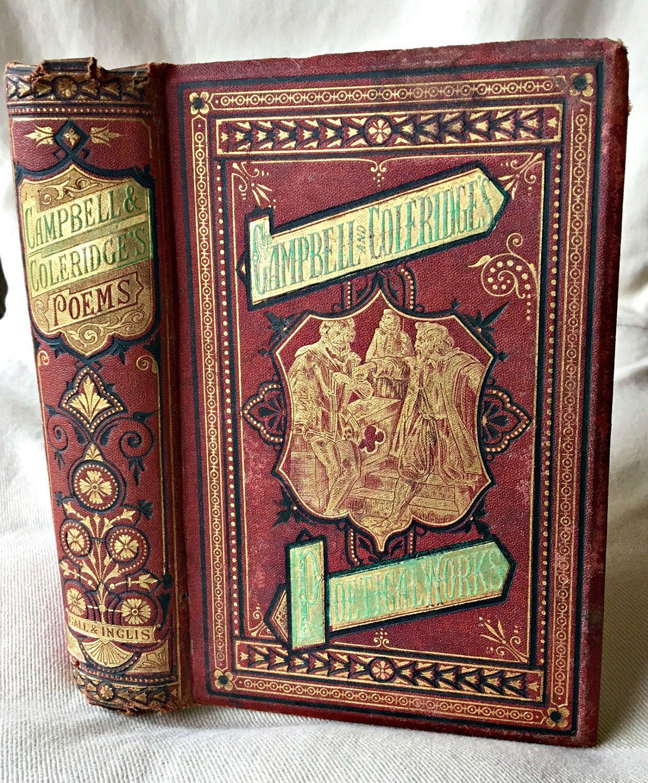 Antique book, Thomas Campbell Samuel Coleridge, Campbell poetry, Coleridge poetry, illustrated book, 1800's book, decorative book by LittleBeachDesigns on Etsy