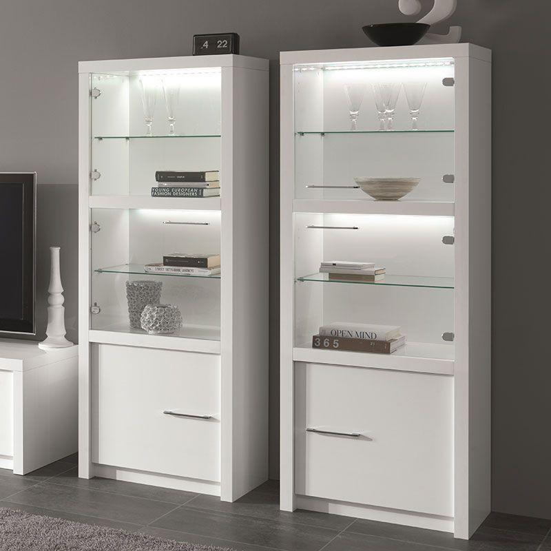Vitrine Blanc Laque Design Avec Led Verona Meuble Rangement Decoration De La Chambre De Spa Interieur Boutique